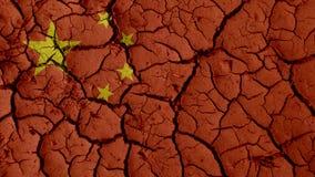Crepe del fango con la bandiera della Cina fotografia stock