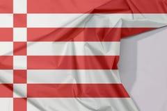 Crepe e vinco da bandeira de Brema da tela com espaço branco, uma bandeira vermelha e branca foto de stock royalty free