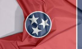 Crepe e vinco da bandeira da tela de Tennessee com espaço branco imagem de stock
