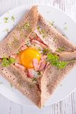 Crepe with egg and bacon Royalty Free Stock Photography