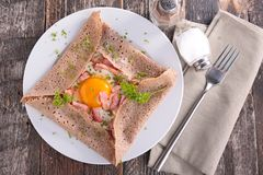 Crepe with egg and bacon Stock Image