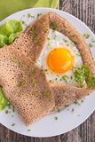 Crepe with egg and herbs Royalty Free Stock Image
