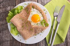 Crepe with egg and herbs Stock Image