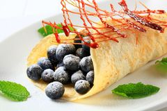 Crepe with fresh blueberries Royalty Free Stock Photo