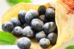 Crepe with fresh blueberries Royalty Free Stock Images