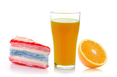 Crepe, fresh orange and glass with juice Royalty Free Stock Photography