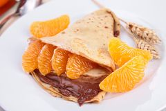 Crepe with fruit and chocolate Royalty Free Stock Images