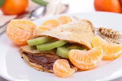 Crepe with fruit and chocolate Royalty Free Stock Photo