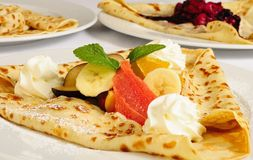 Crepe / Crepes / Pancake / Pancakes with fruits an Royalty Free Stock Photo