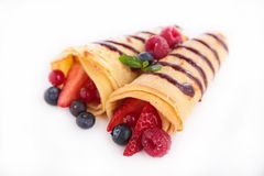 Crepe and fruits Stock Image