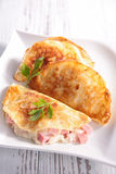 Crepe with ham and cheese Stock Photos