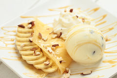 Crepe and ice cream Royalty Free Stock Photo
