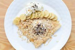 Crepe with ice cream. Banana crepe with ice cream Stock Image