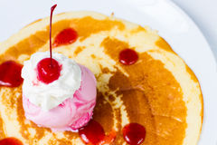 Crepe with ice cream strawberry Stock Photo