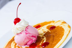 Crepe with ice cream strawberry Stock Image