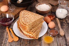Crepe and ingredient Royalty Free Stock Image