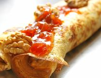 Crepe with Jam and Walnuts royalty free stock photos