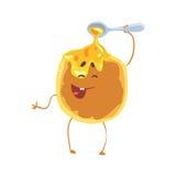 Crepe linda de la historieta con la miel y la cara del smiley, ejemplo divertido del vector del carácter de los alimentos de prep ilustración del vector