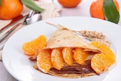 Crepe with orange Royalty Free Stock Photography