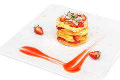 Crepe pancake cake with custard and strawberry Royalty Free Stock Images