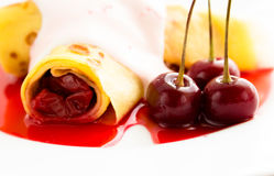 Crepe pancake with cherry Stock Photo