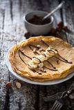 Crepe for Pancake day. On wood background Stock Images