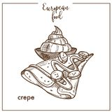Crepe pancake sketch icon for European French food cuisine cafe dessert menu design. Crepe pancake sketch icon for European food cuisine menu design. Vector Stock Photos