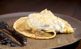Crepe pancake with whipped cram Stock Photography