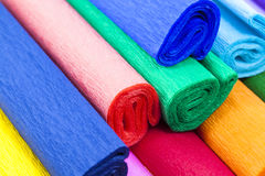 Crepe paper. The goffered multi-colored paper combined together. small depth of sharpness royalty free stock photos