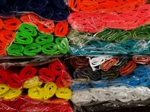 Crepe paper scrolls various colors. Wrapped in one another in cellophane stock images