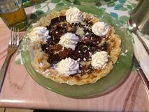 Crepe plate to the Chocolate and Chantilly Royalty Free Stock Images