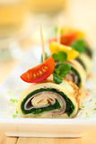 Crepe Rolls Filled with Ham and Spinach Royalty Free Stock Images