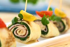 Crepe Rolls Filled with Ham and Spinach Stock Images