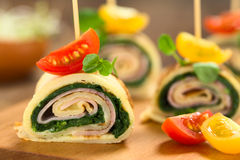 Crepe Rolls Filled with Ham and Spinach stock photography