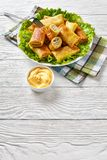 Crepe rolls with ground chicken meat, top view. Savory crepe rolls with ground chicken meat and mushrooms filling served on a bad of fresh lettuce leaves on a stock images
