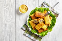 Crepe rolls with ground chicken meat, top view. Savory crepe rolls with ground chicken meat and mushrooms filling served on a bad of fresh lettuce leaves on a royalty free stock photos