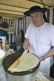 Crepe Stand with man making crepe at the Flea Market, Paris, France Stock Photo