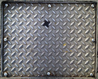 Crepe steel manhole cover Royalty Free Stock Photos