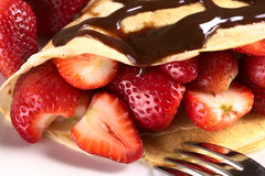 Crepe with Strawberries Stock Photos