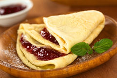 Crepe with Strawberry jam Stock Photography
