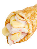 Crepe stuffed with cheese and ham Stock Photos