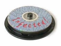 Crepe su CD - infettato! immagini stock libere da diritti