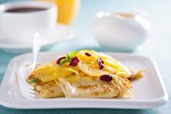 Crepe suzette with orange cranberry sauce Stock Images