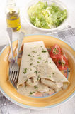 Crepe with turkey meat filling Stock Photos