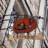 Creperie-Zeichen Stockfotografie