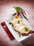 Crepes με το ραδίκι και το τυρί Στοκ Εικόνα