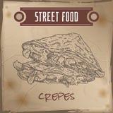 Crepes с эскизом мяса, сыра и грибов на предпосылке grunge бесплатная иллюстрация