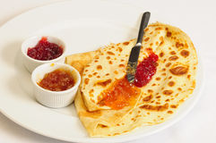 Crepe / Crepes / Pancake / Pancakes 10. This close-up picture shows some crepes with jam on a plate Royalty Free Stock Photography