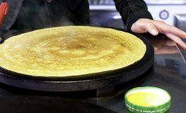 Crepes. Making fresh crepes in italian kiosk Royalty Free Stock Photo