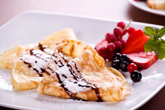 Crepes. Photograph of a plate of crepes for dessert Stock Photography